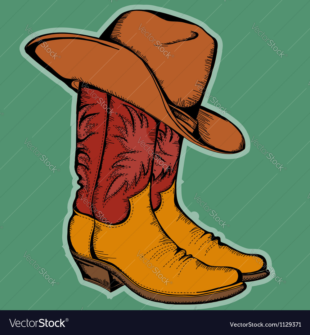 Cowboy boots and hat color isolated for desi vector | Price: 1 Credit (USD $1)