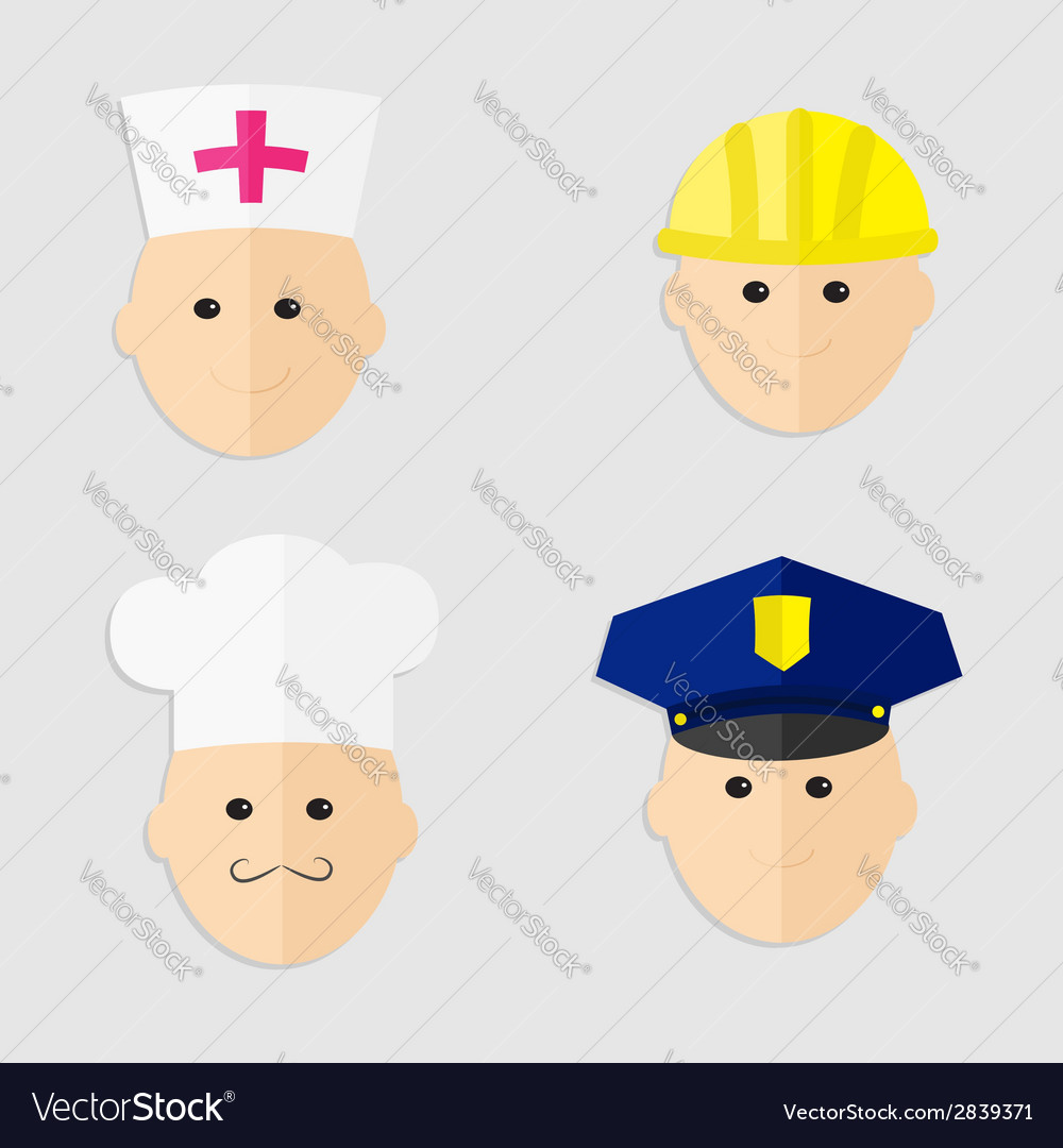 Different professions man head icon set policeman vector | Price: 1 Credit (USD $1)
