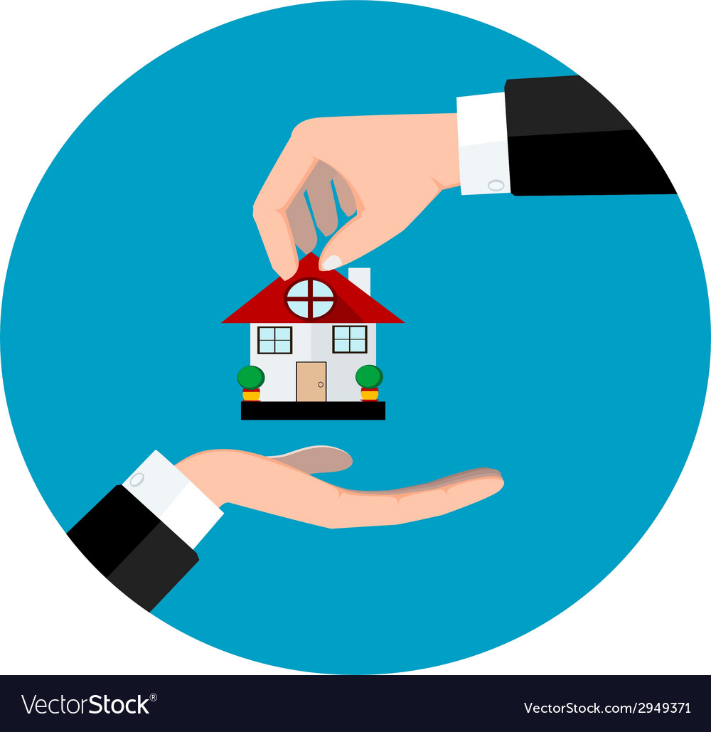 Hand giving house vector | Price: 1 Credit (USD $1)
