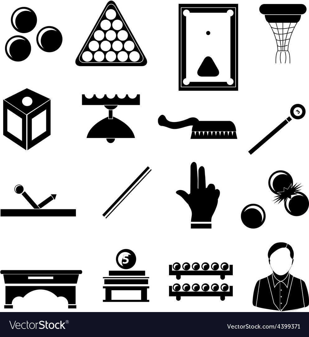 Pool snooker billiards icons set vector | Price: 1 Credit (USD $1)