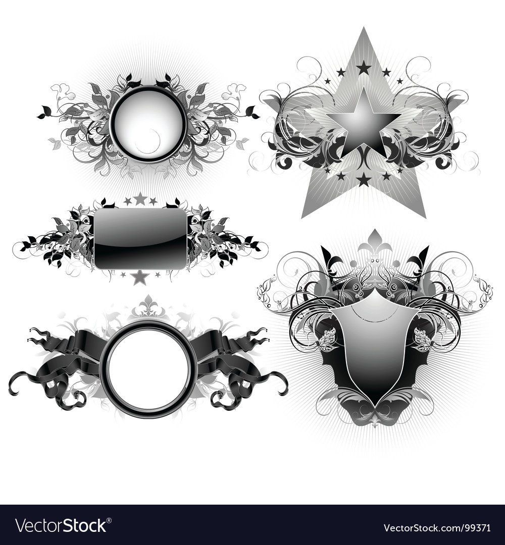Shields decorative vector | Price: 3 Credit (USD $3)