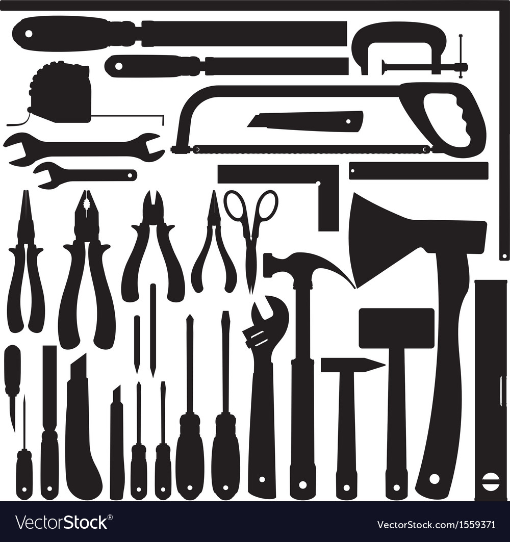 Silhouettes of work tools instruments set vector | Price: 1 Credit (USD $1)