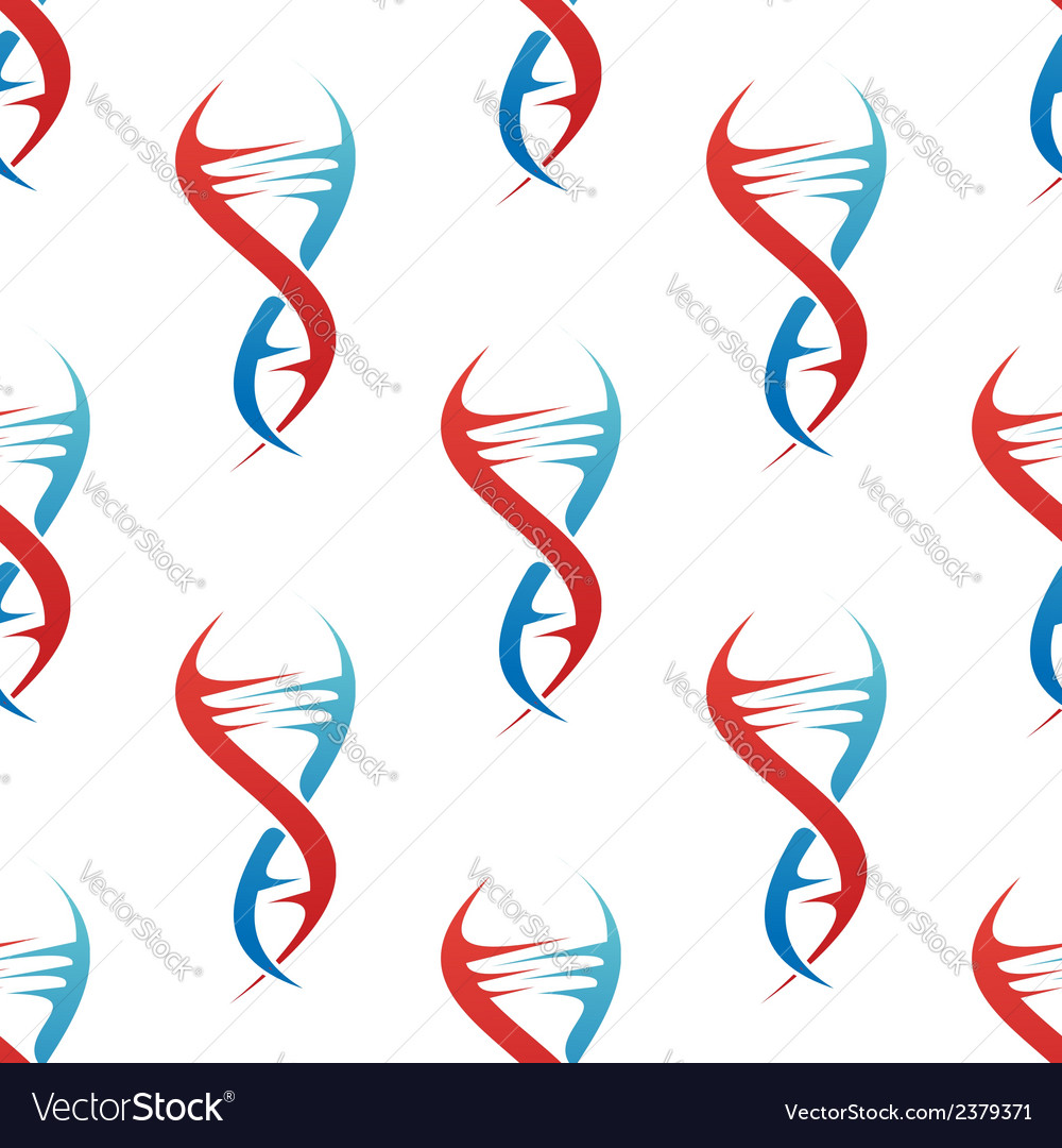Stylized dna spiral helix seamless pattern vector | Price: 1 Credit (USD $1)