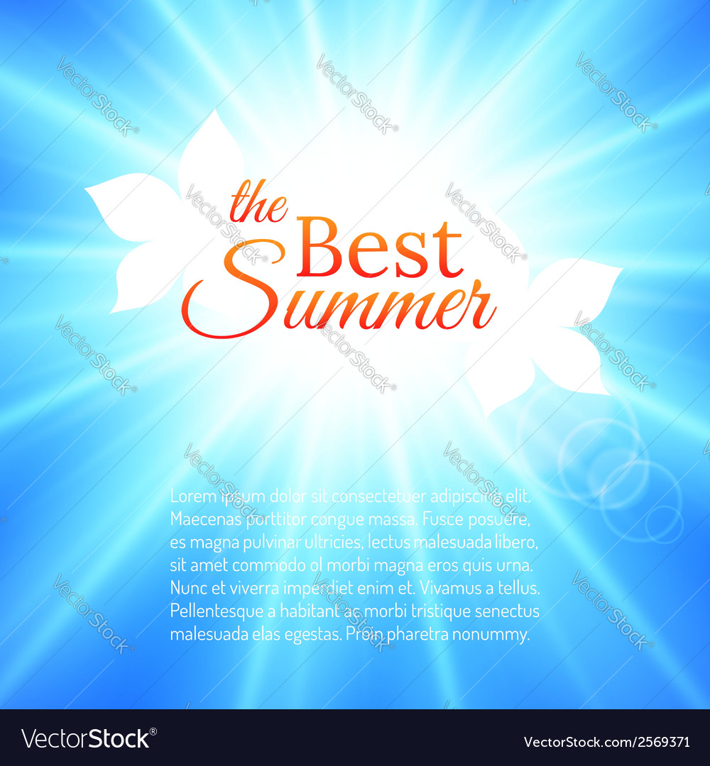 Summer background with bright sun in the sky vector | Price: 1 Credit (USD $1)