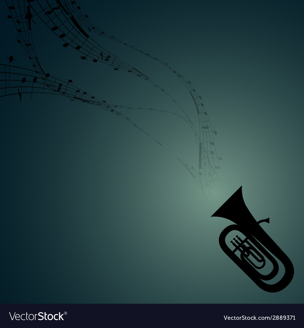 Tuba with musical symbols vector | Price: 1 Credit (USD $1)