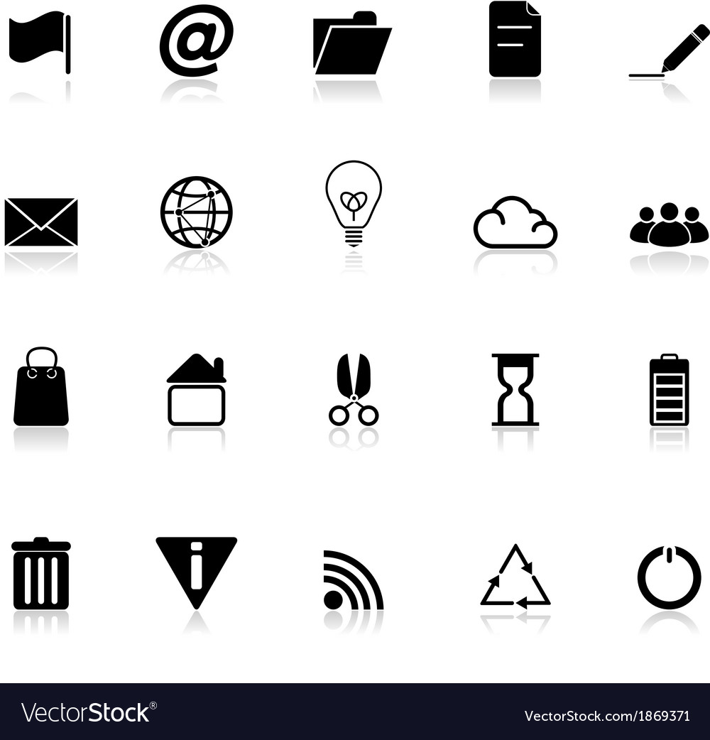 Web and internet icons with reflect on white vector | Price: 1 Credit (USD $1)