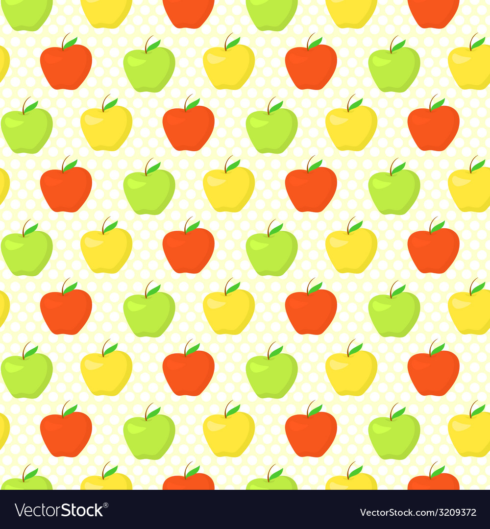 Colorful pattern with green yellow and red apples vector