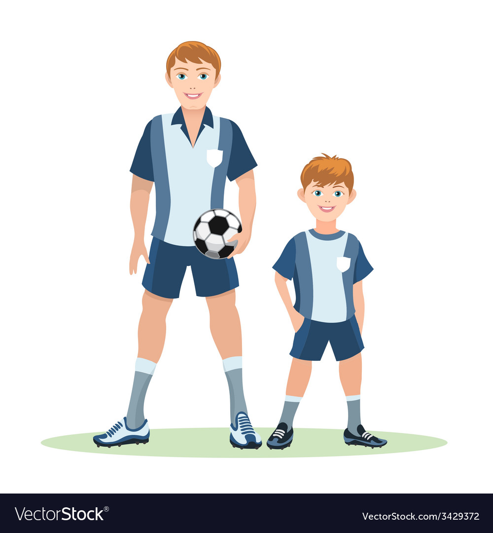 Father and son soccer team vector | Price: 1 Credit (USD $1)