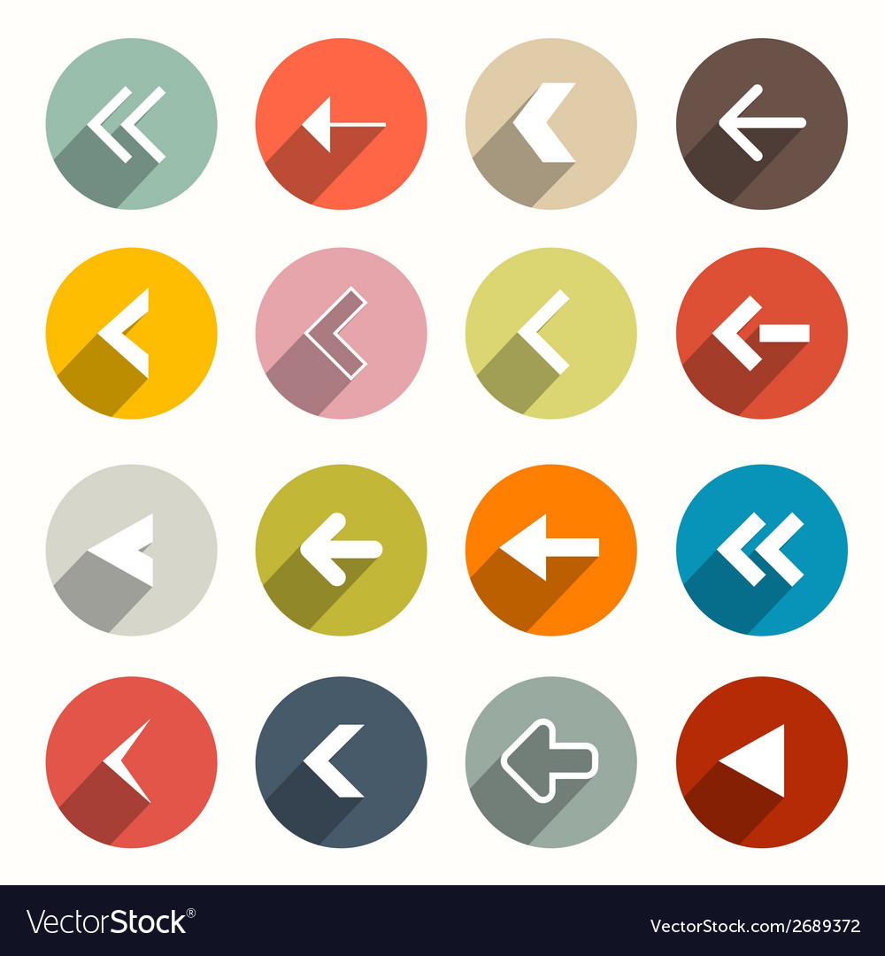 Flat design arrows set in circles vector | Price: 1 Credit (USD $1)