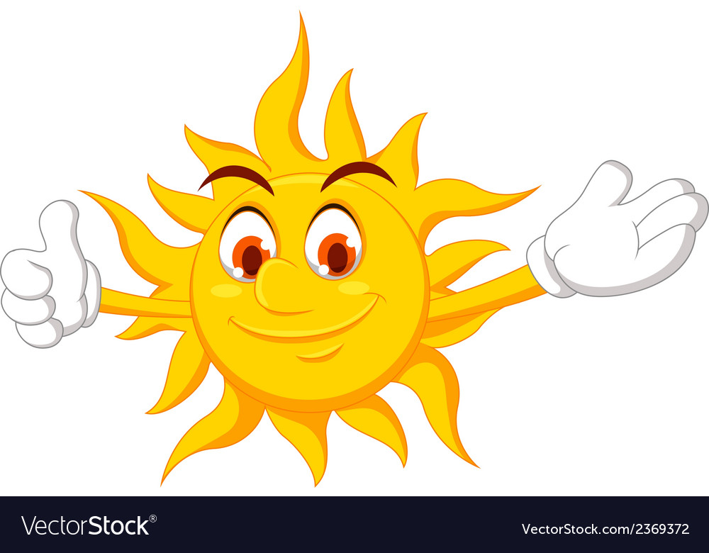 Funny sun cartoon thumb up vector | Price: 1 Credit (USD $1)
