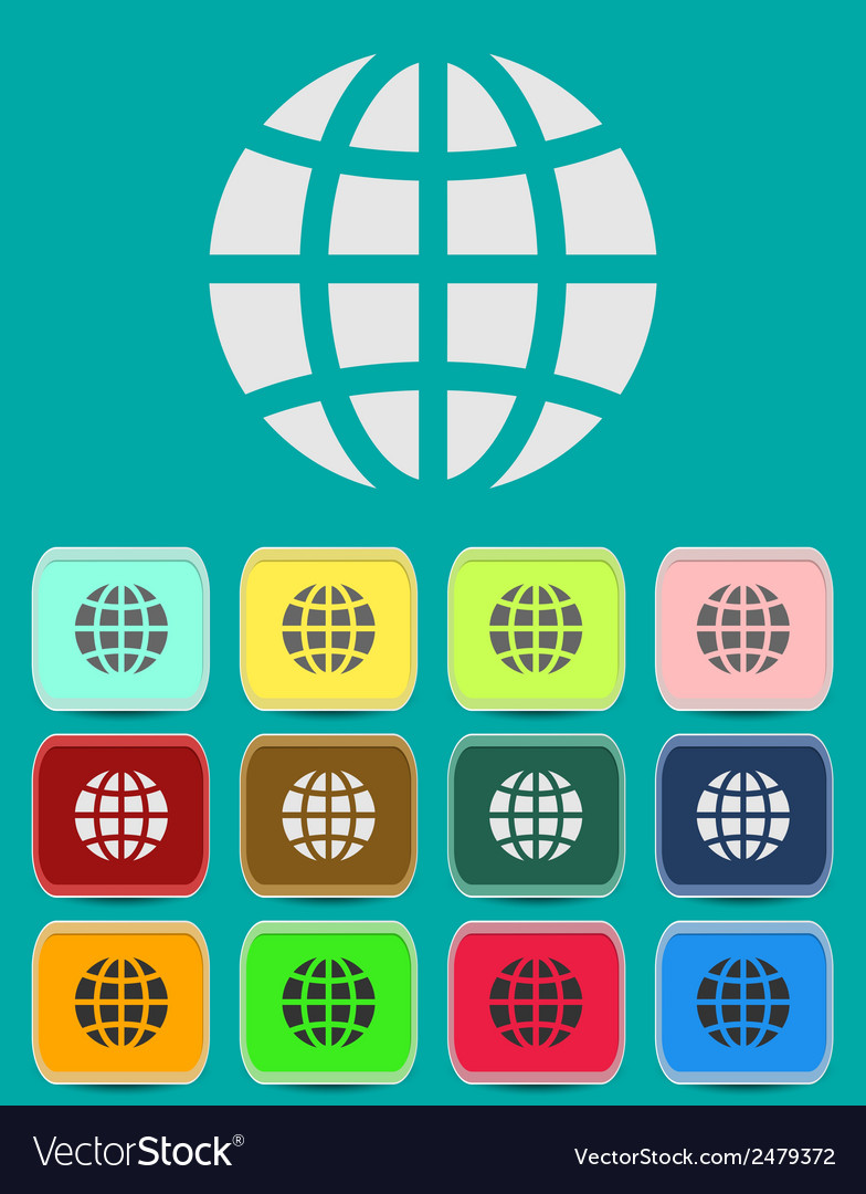 Globe earth icons set vector | Price: 1 Credit (USD $1)