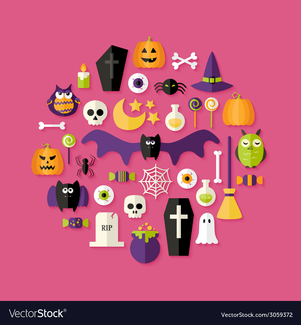 Halloween flat icons set over pink vector | Price: 1 Credit (USD $1)