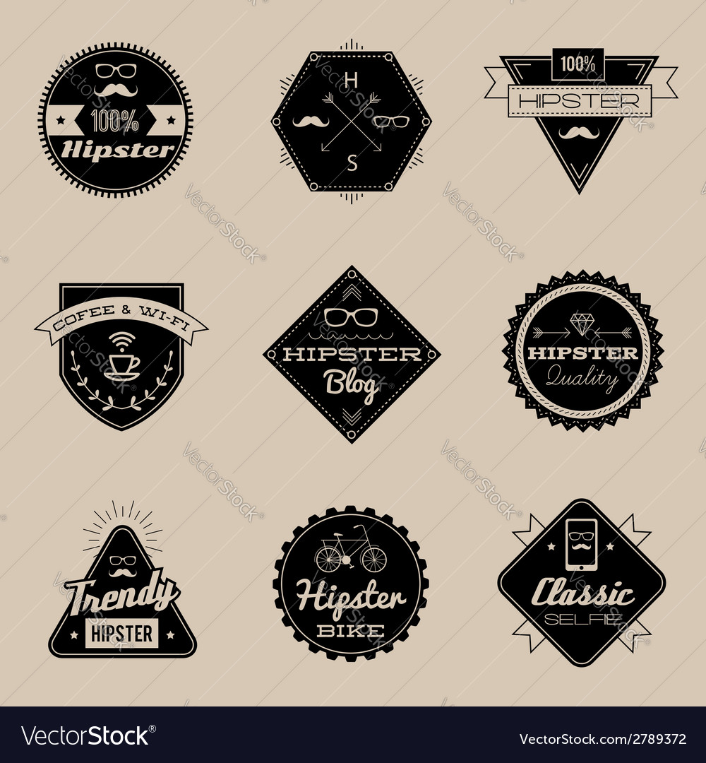 Hipster emblems brown vector | Price: 1 Credit (USD $1)