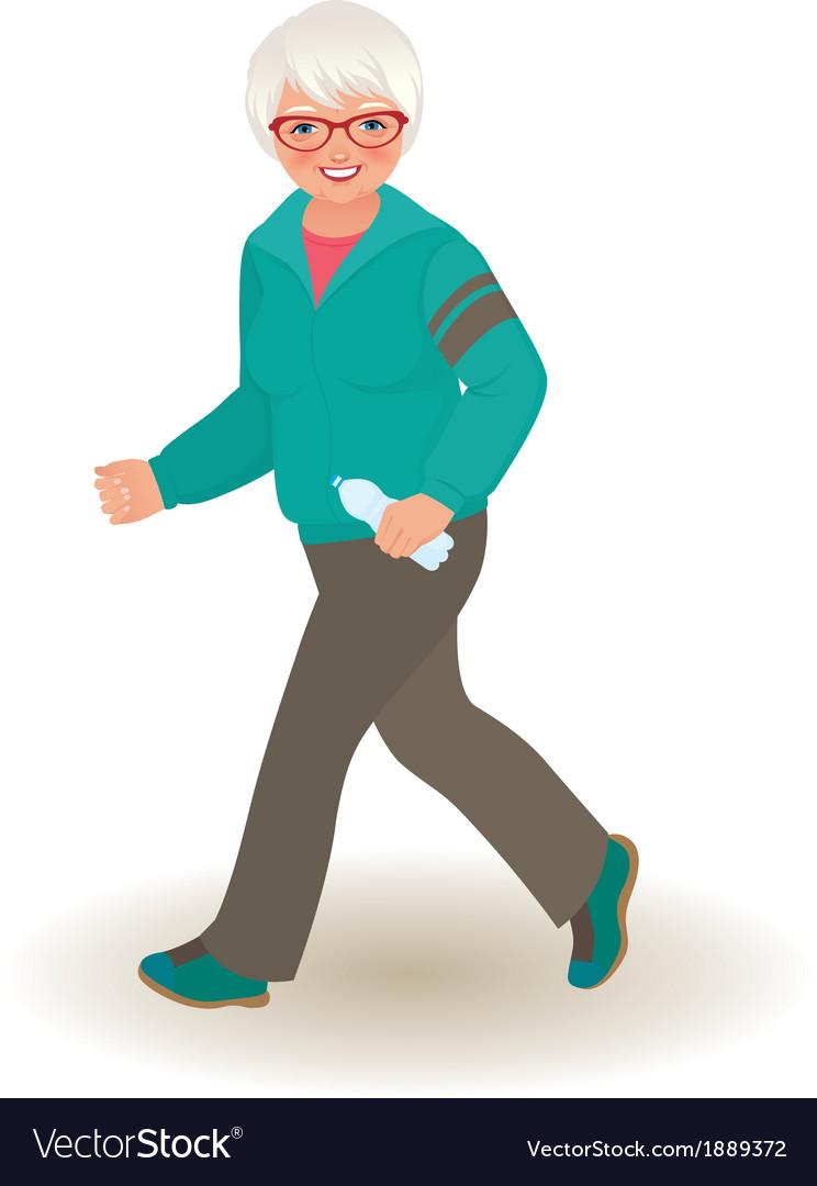 Mature woman doing jogging vector | Price: 1 Credit (USD $1)