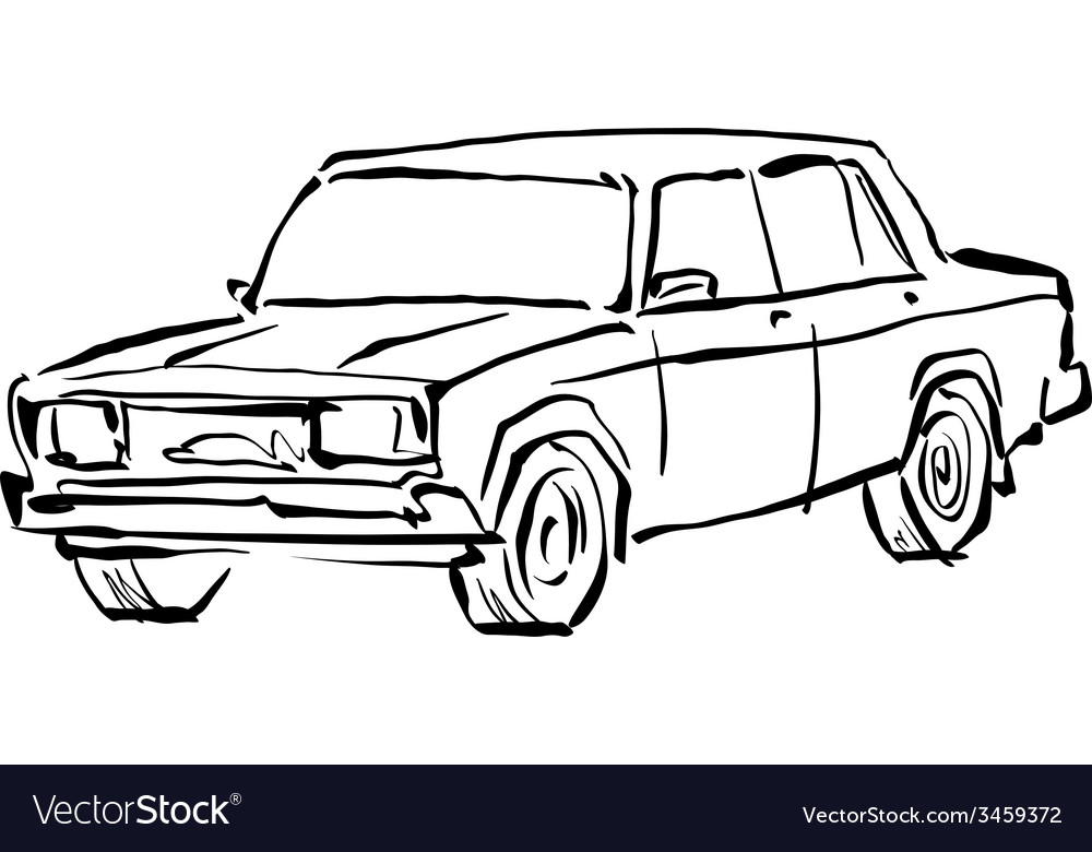 Monochrome hand drawn car on white background vector   Price: 1 Credit (USD $1)