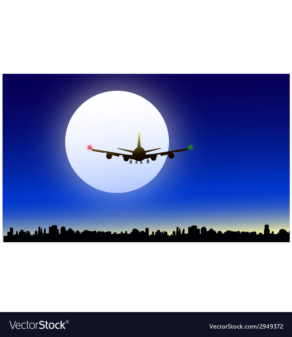 Moon and night flight vector | Price: 1 Credit (USD $1)