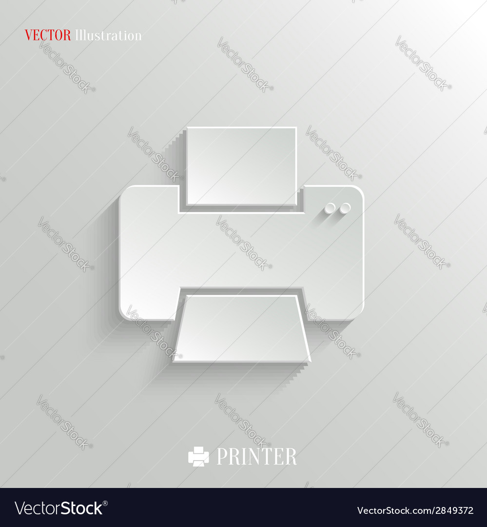 Printer icon - white app button vector | Price: 1 Credit (USD $1)