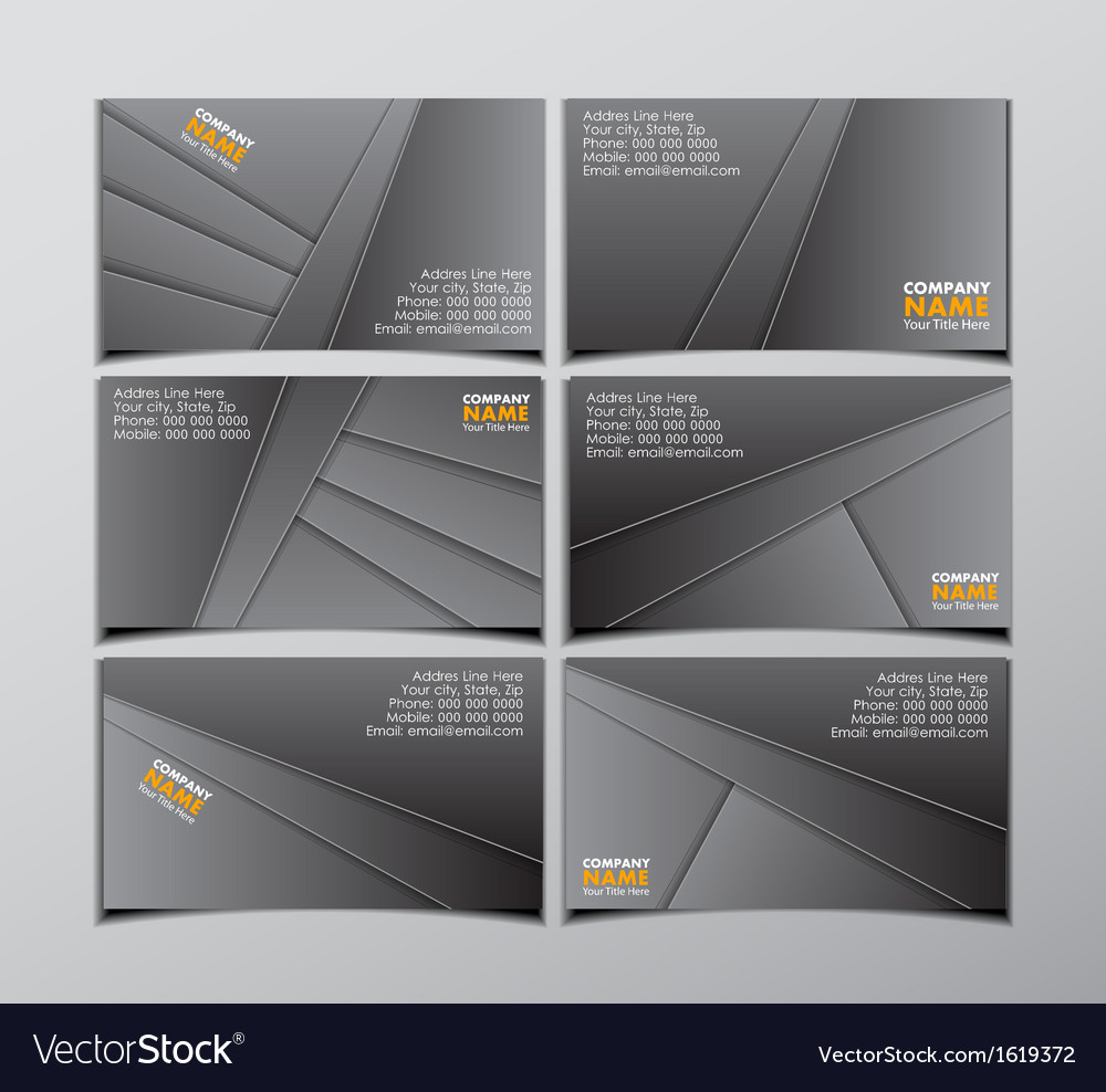 Set of six black visit cards vector | Price: 1 Credit (USD $1)