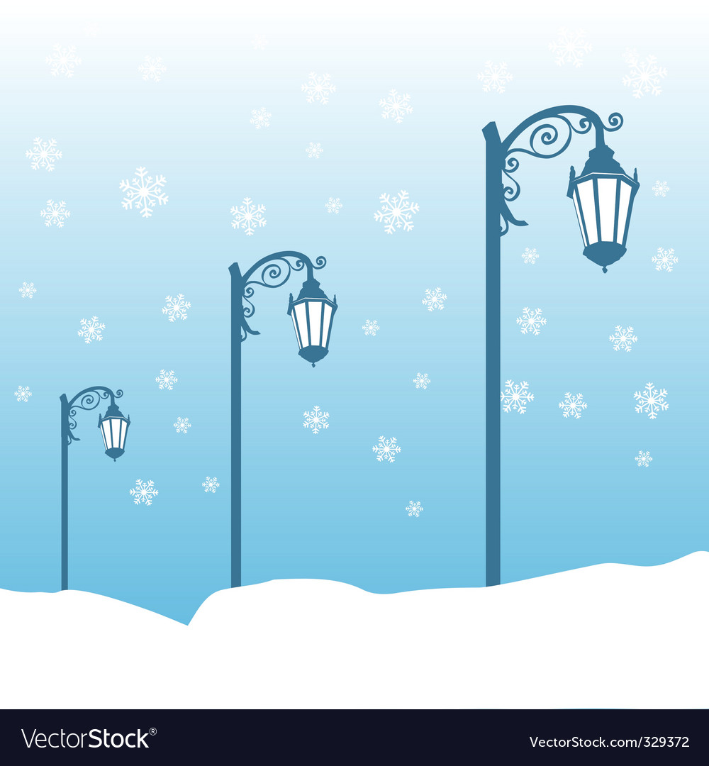 Street lamp in winter vector | Price: 1 Credit (USD $1)