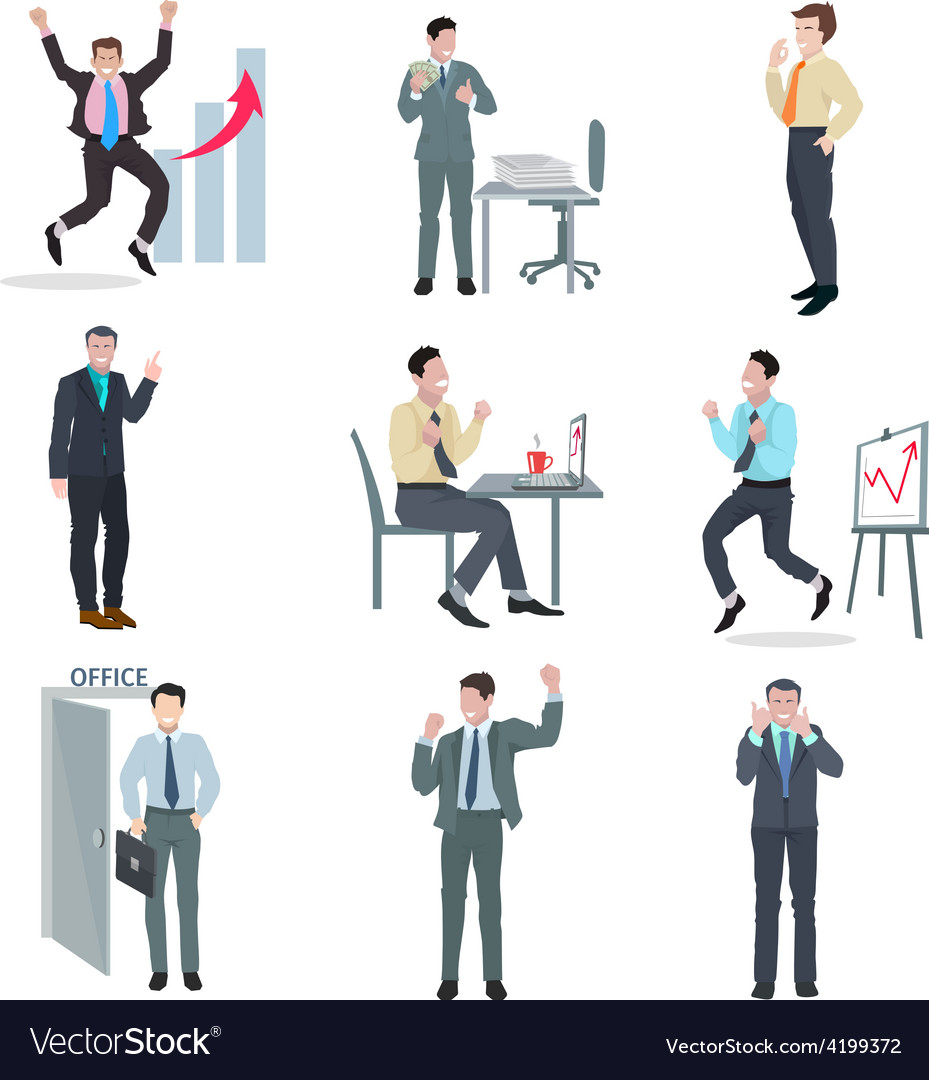 Successful businessman set vector | Price: 1 Credit (USD $1)