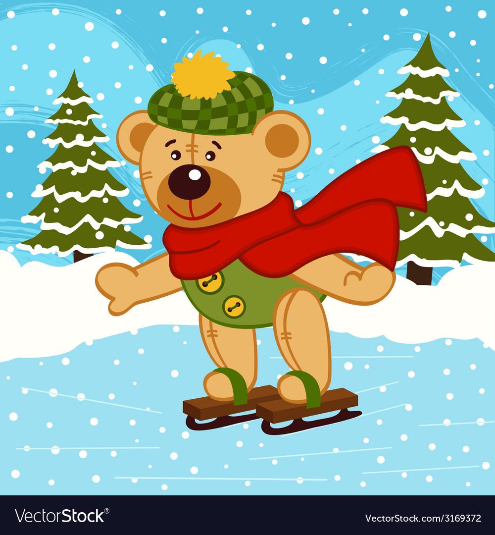 Teddy bear on ice skates vector   Price: 1 Credit (USD $1)