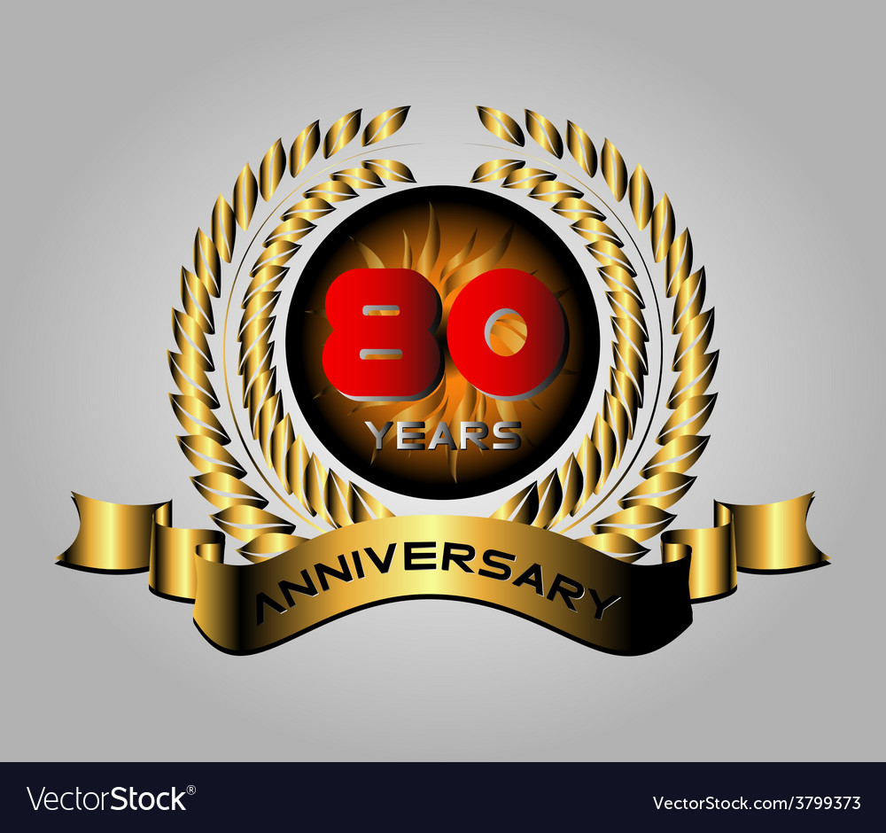 80 year birthday celebration 80th anniversary vector | Price: 1 Credit (USD $1)
