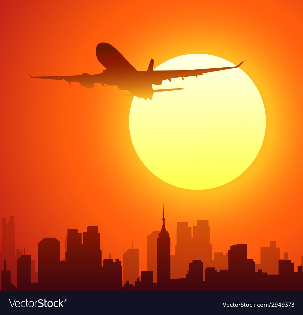Airplane and sun vector | Price: 1 Credit (USD $1)