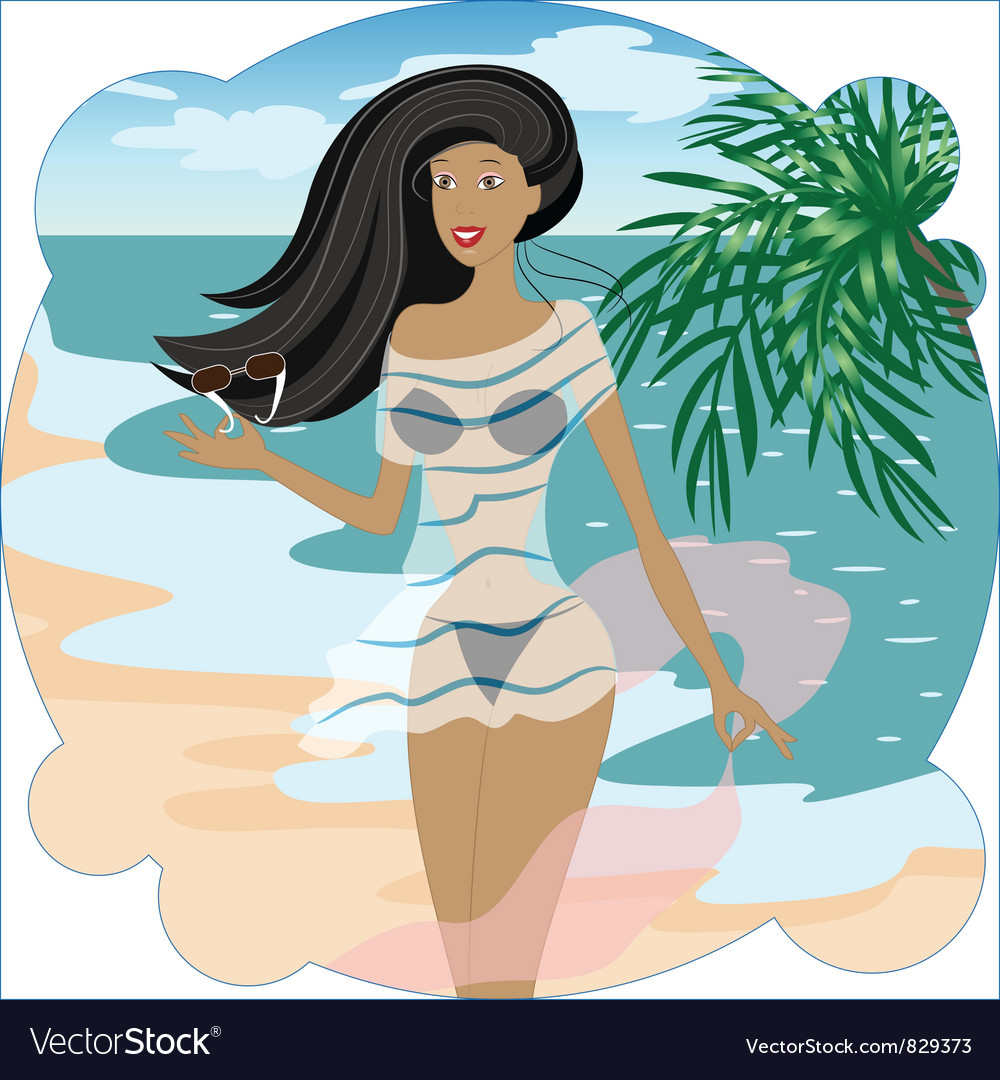 Beautiful girl on the beach vector | Price: 3 Credit (USD $3)