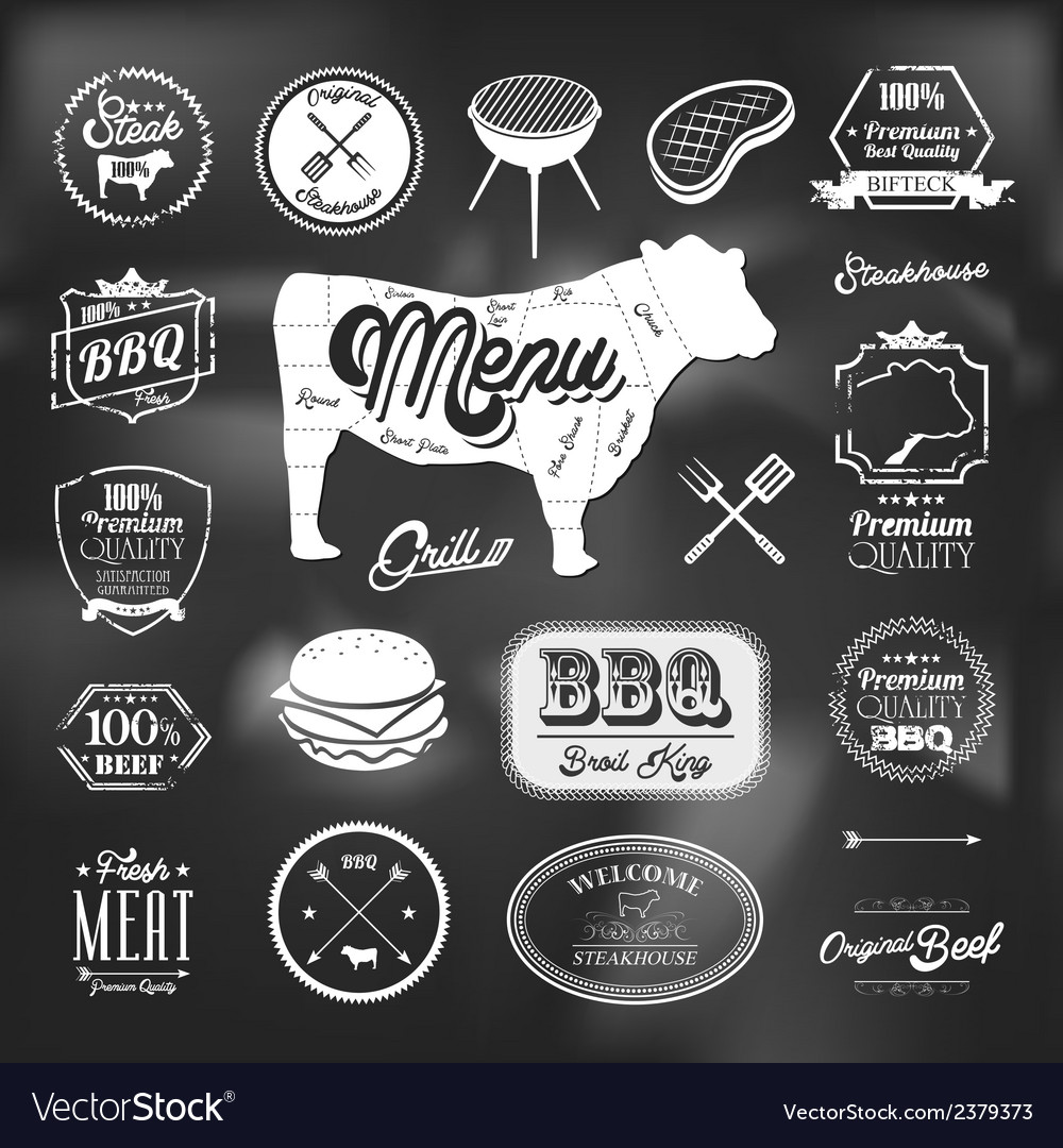 Beef specialty restaurant elements design vector | Price: 1 Credit (USD $1)
