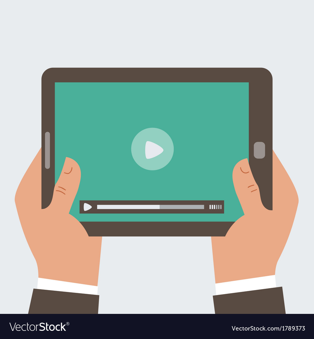 Businessman holding tablet computer with video pl vector | Price: 1 Credit (USD $1)