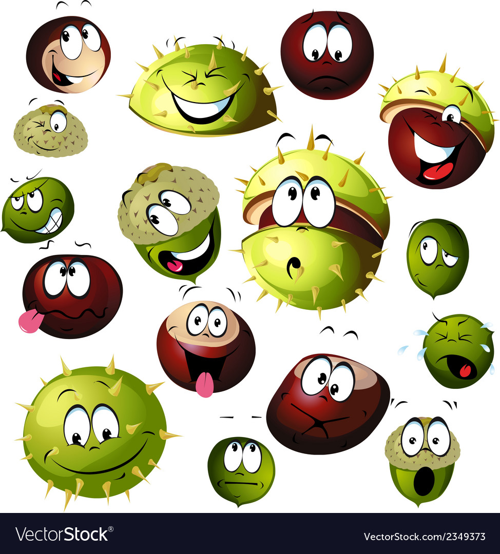 Chestnut and acorn cartoon character vector | Price: 1 Credit (USD $1)