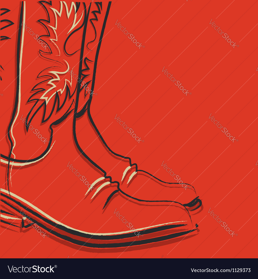 Cowboy boots on red background vector | Price: 1 Credit (USD $1)