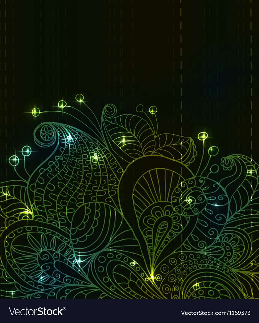Flower green light ornament vector | Price: 1 Credit (USD $1)
