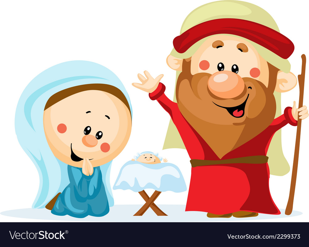 Funny christmas nativity scene with holy family - vector | Price: 1 Credit (USD $1)