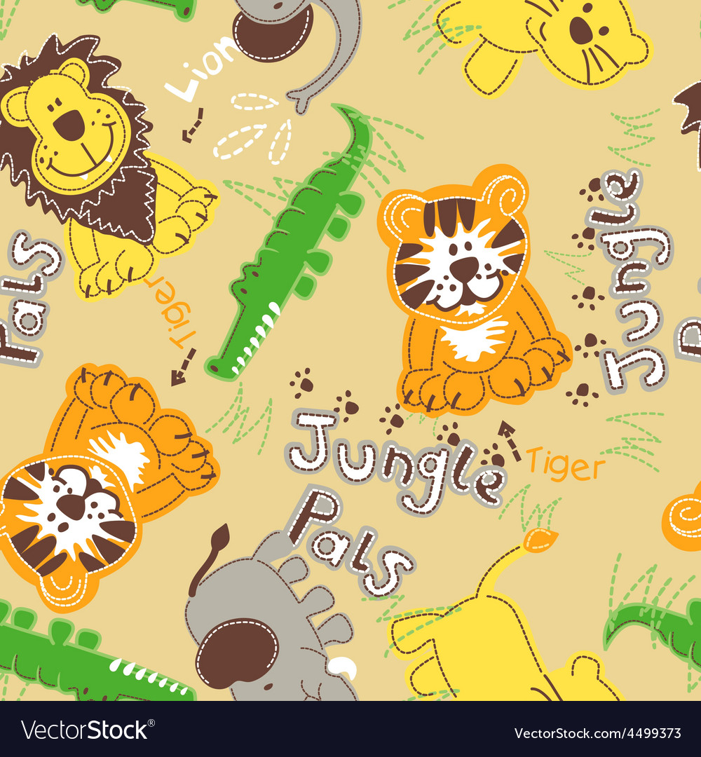 Jungle pals wild animals seamless pattern vector | Price: 1 Credit (USD $1)