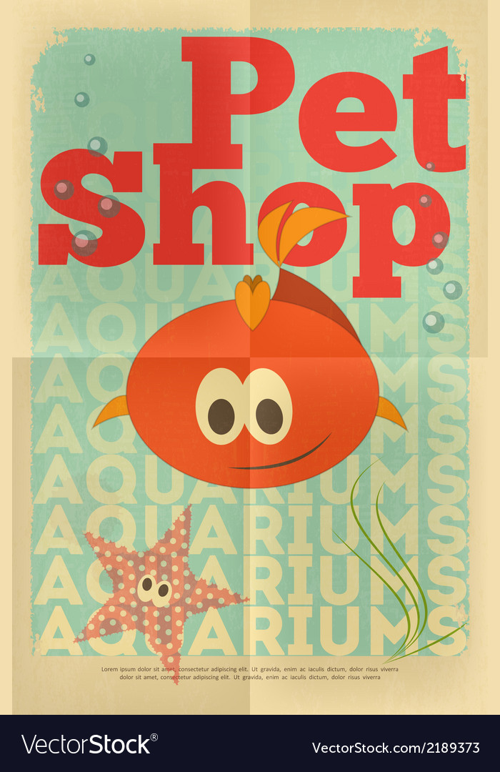 Pet shop poster fish vector | Price: 1 Credit (USD $1)