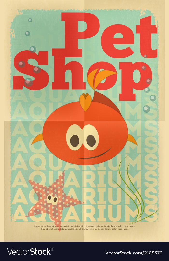Pet shop poster fish vector | Price: 1 Credit (USD $1)