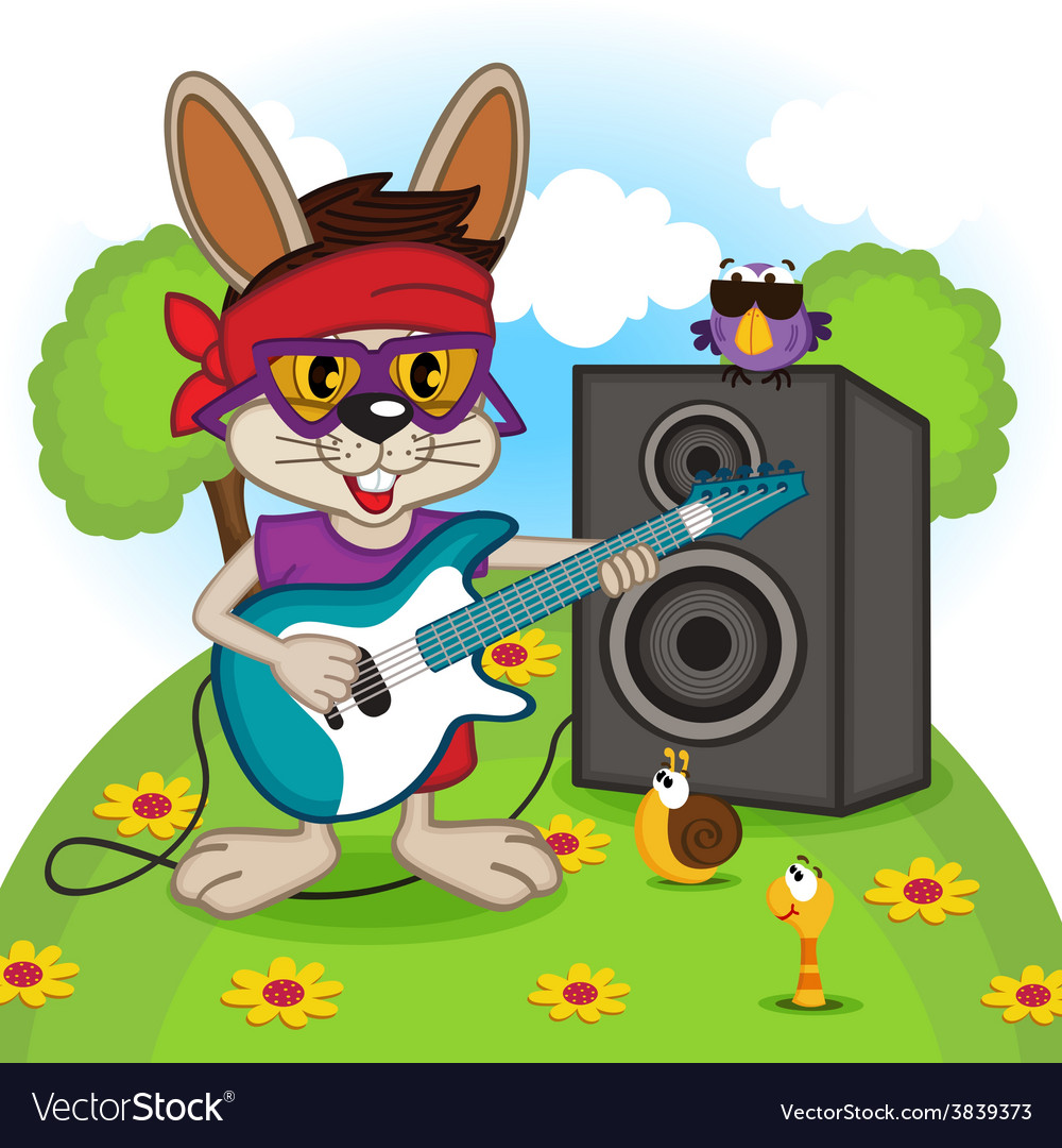 Rabbit playing on electric guitar vector | Price: 3 Credit (USD $3)
