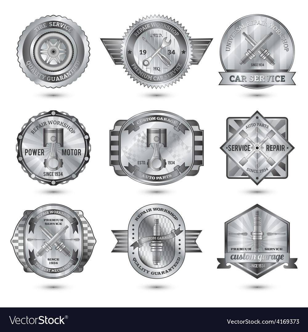 Repair workshop metal emblems set vector | Price: 1 Credit (USD $1)