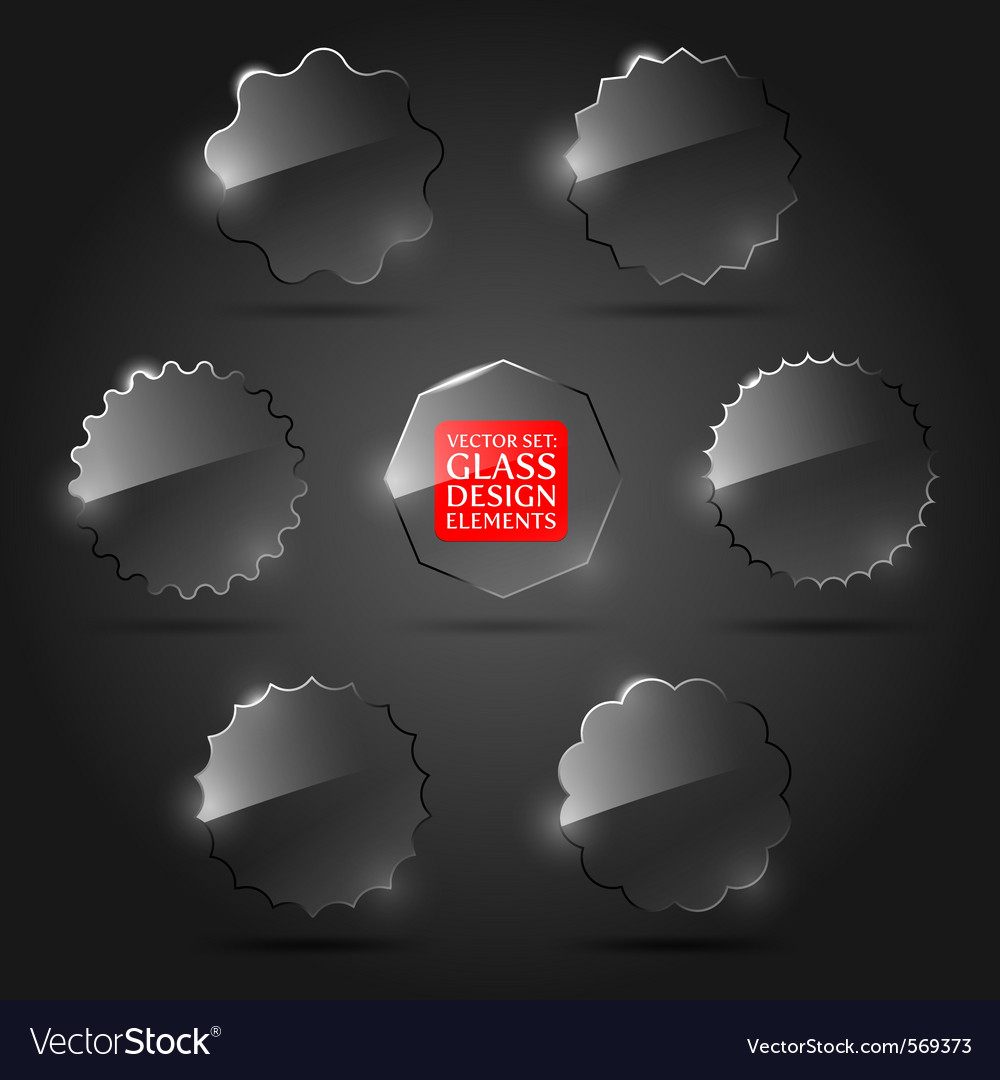 Set of glass design elements vector | Price: 1 Credit (USD $1)