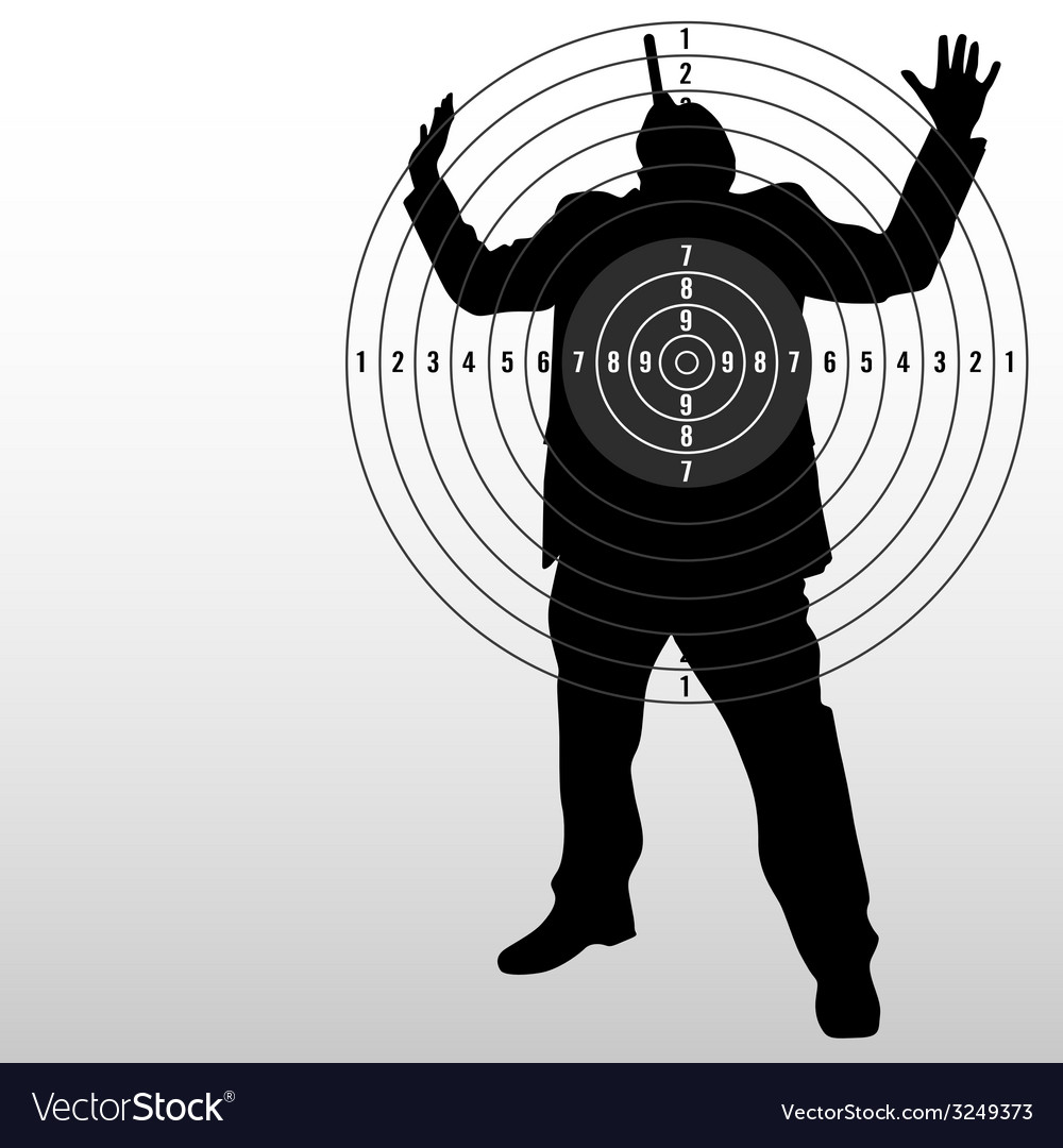 Target with man black silhouette vector | Price: 1 Credit (USD $1)
