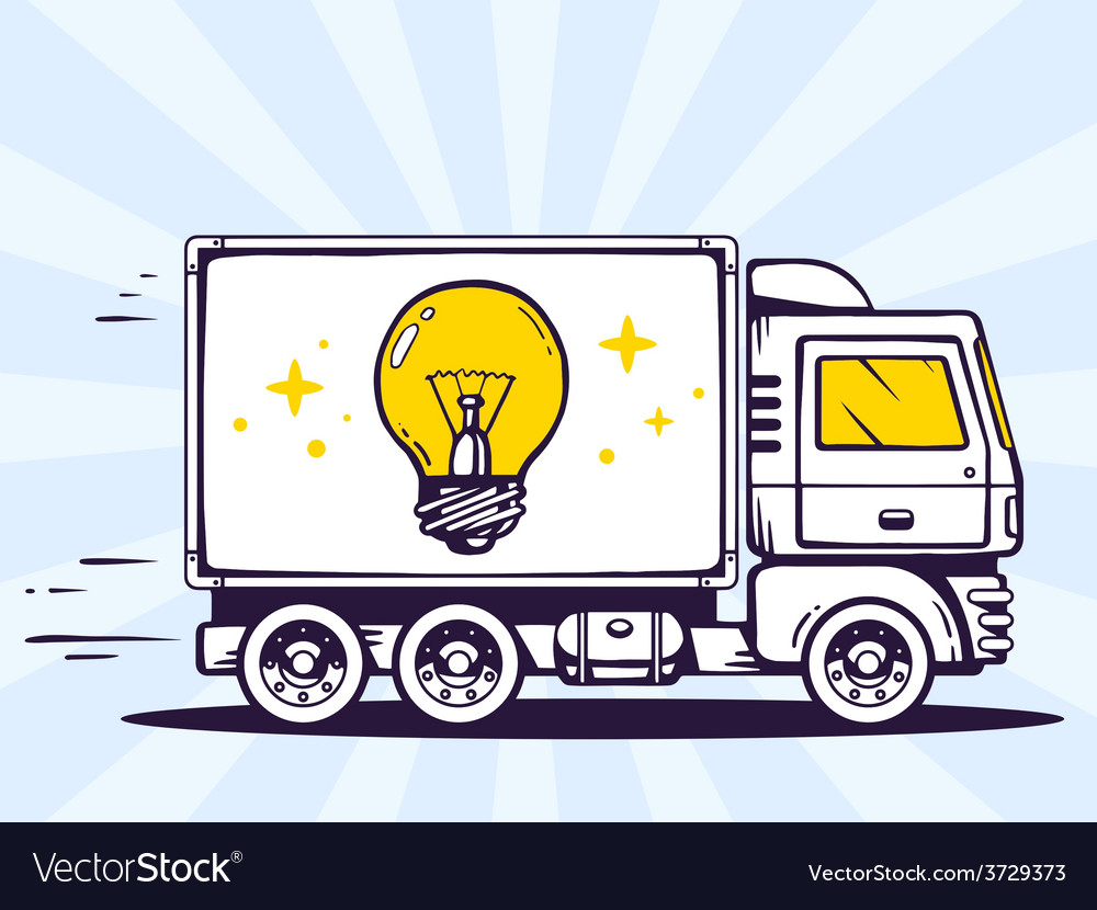 Truck free and fast delivering light bulb vector | Price: 1 Credit (USD $1)