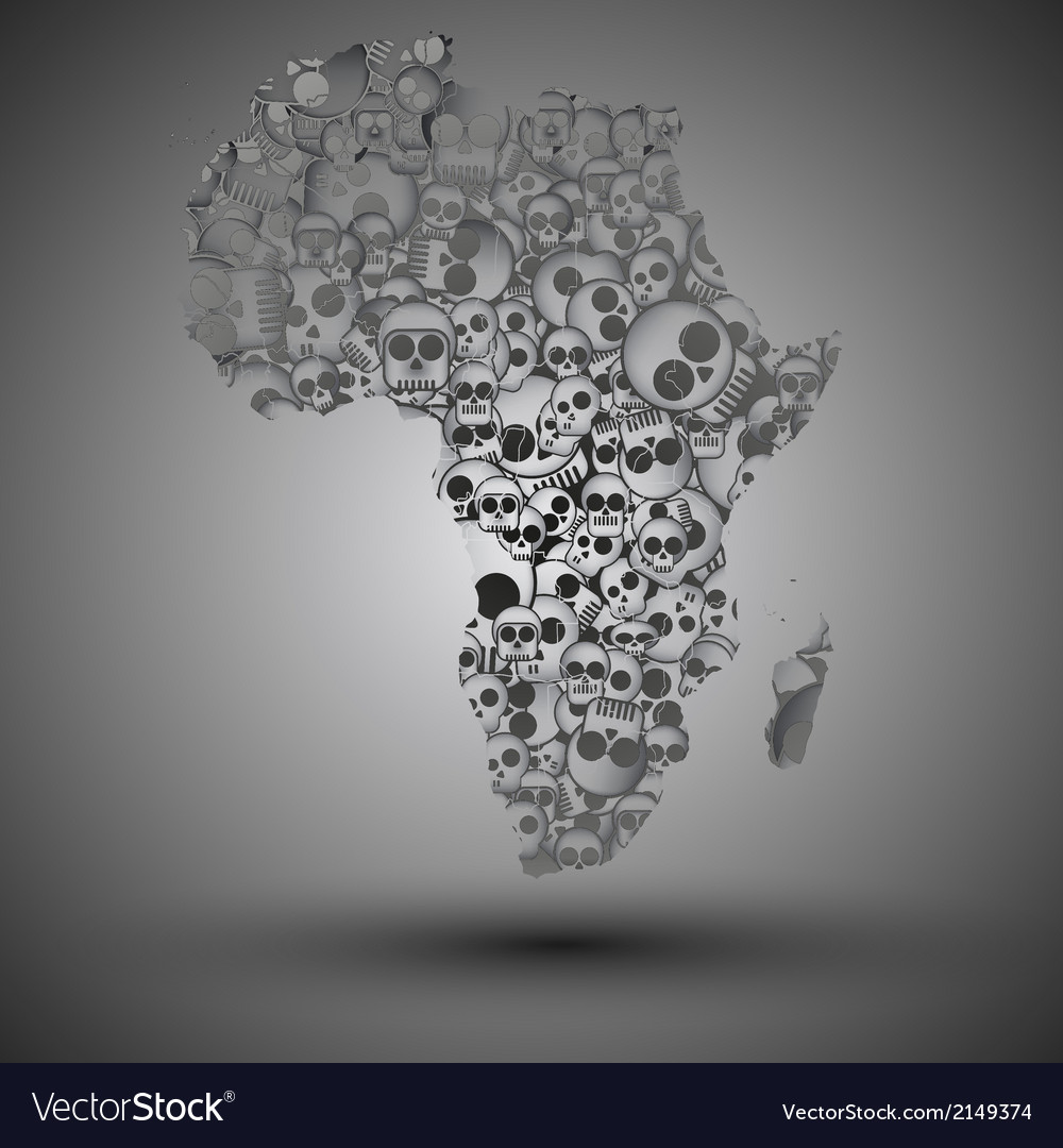 Africa map in the form of skulls background vector | Price: 1 Credit (USD $1)