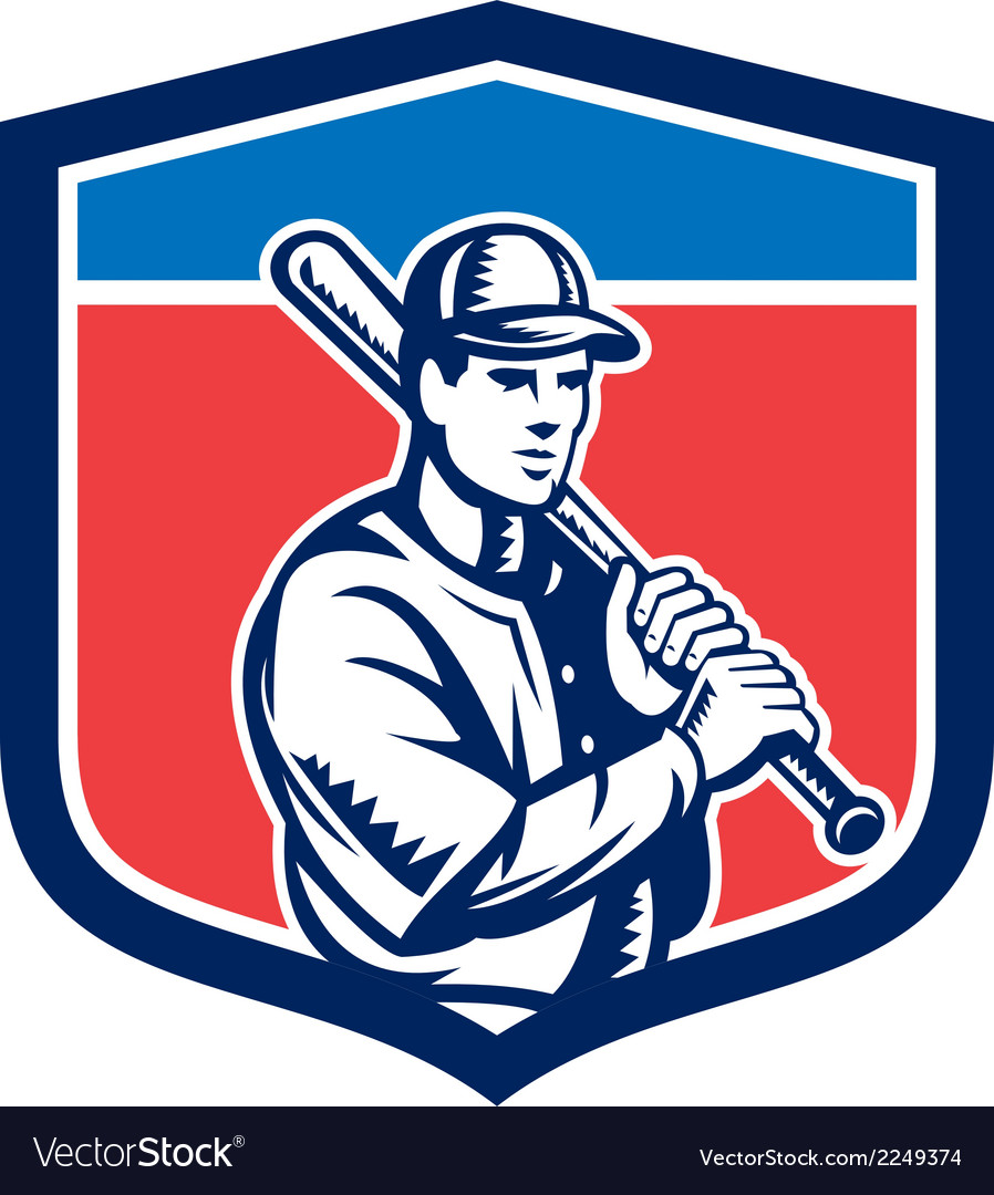 Baseball holding bat shoulder retro vector | Price: 1 Credit (USD $1)
