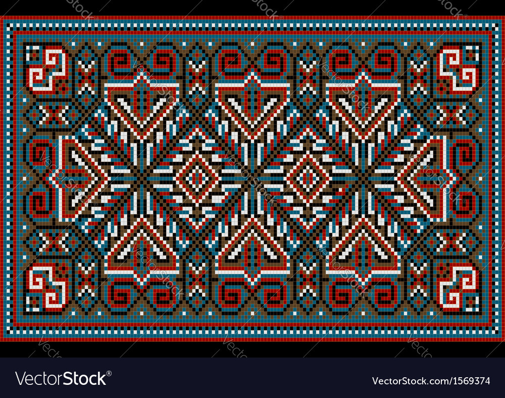 Carpet old style in blue and burgundy shades vector | Price: 1 Credit (USD $1)