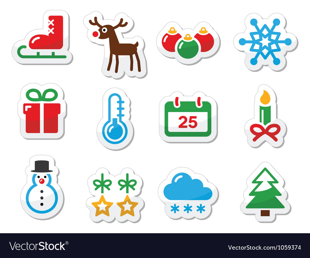 Christmas winter black icons set as labels vector | Price: 1 Credit (USD $1)