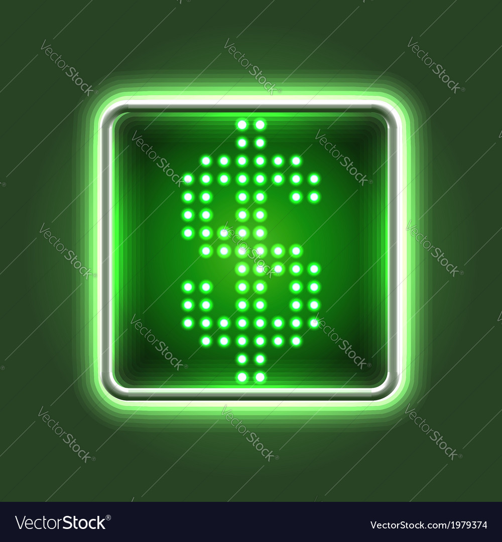 Dollar currency sign neon icon vector | Price:  Credit (USD $)