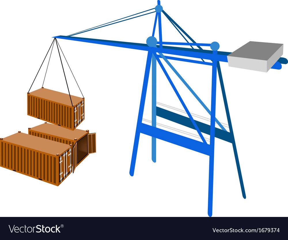 Freight container being hoisted by a crane vector | Price: 1 Credit (USD $1)