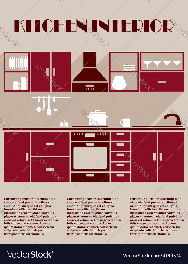 Kitchen interior infographic template vector | Price: 1 Credit (USD $1)