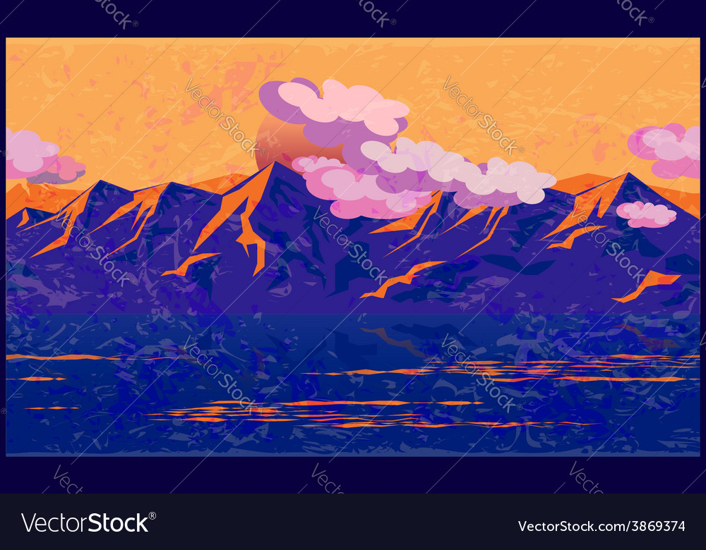 Mountains in the manner of impressionism vector | Price: 1 Credit (USD $1)
